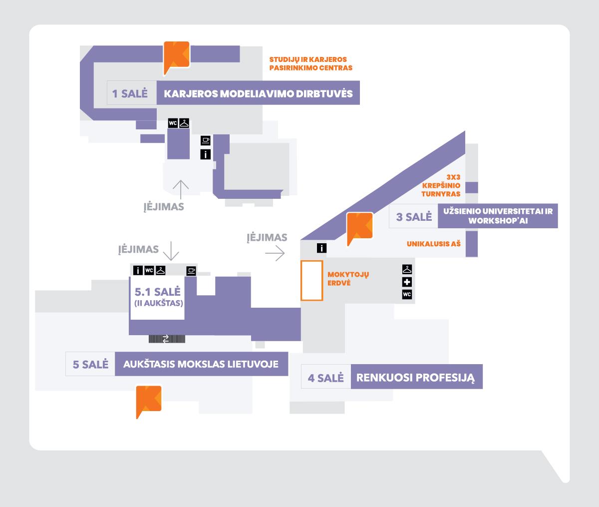 """LITEXPO parodos ,,Studijos 2020"""" žemėlapis"""